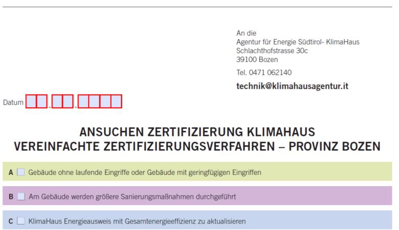 Ansuchen Zertifizierung vereinfachte Verfahren (BZ)